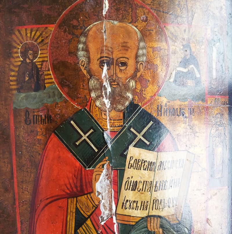 restauro icona: stuccature ad imitazione di superfice